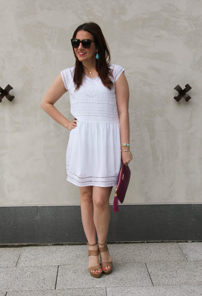 Summer Outfit - casual white dress and wedges