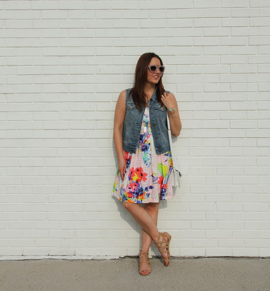 summer outfit - floral dress, denim vest and sandals