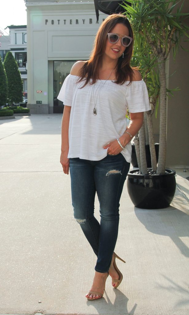 summer outfit - off the shoulder blouse and distressed denim
