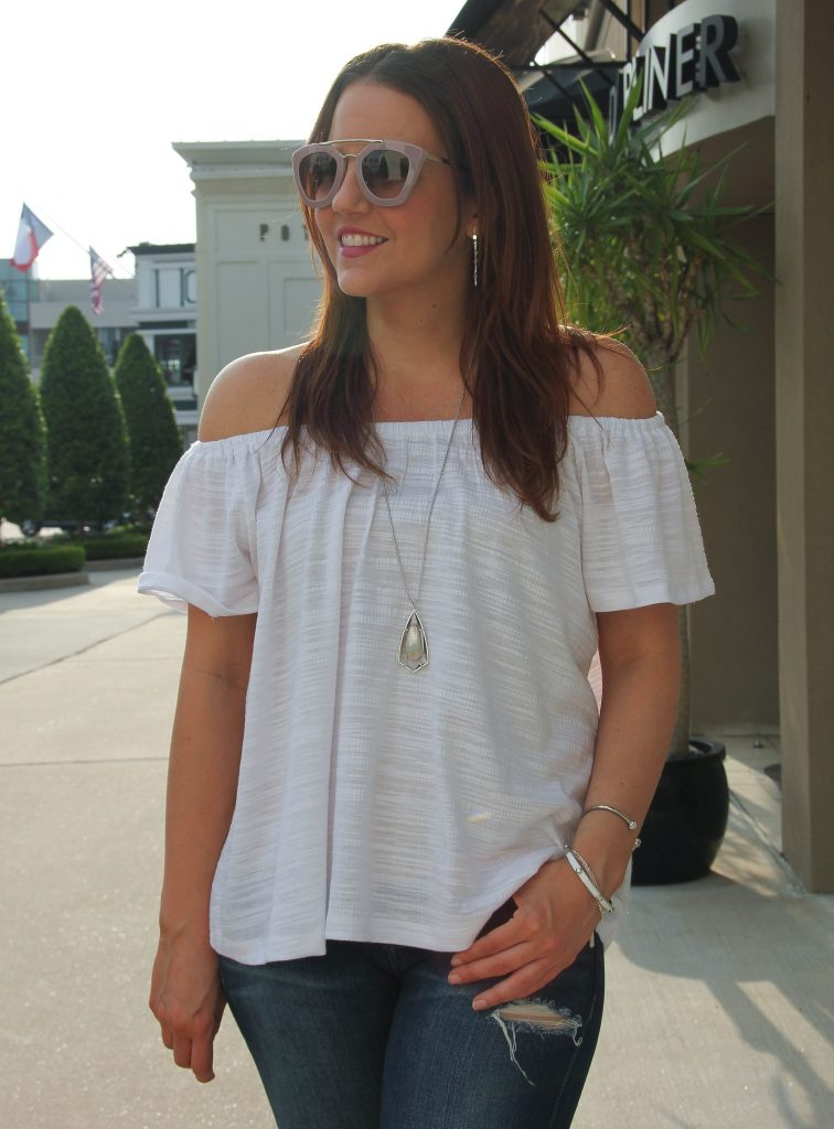 white off the shoulder top with kendra scott necklace