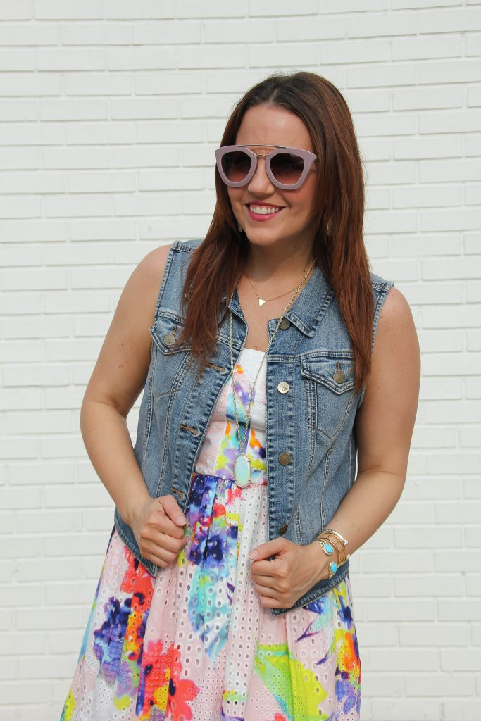 restyle a dress with a denim vest