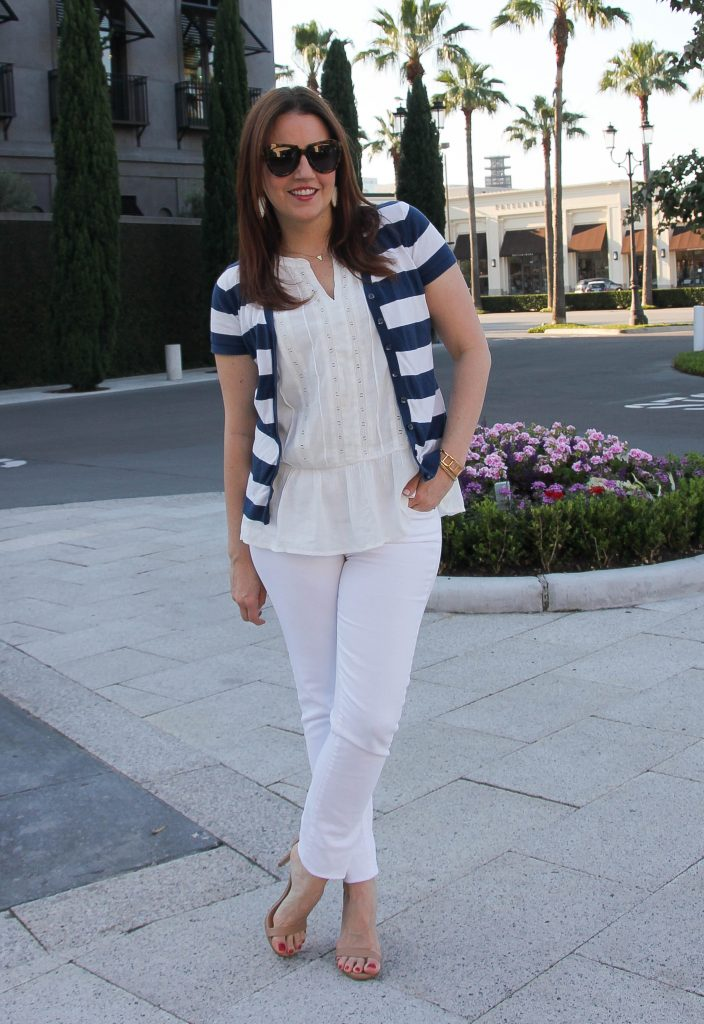 spring outfit - all white outfit and striped cardigan