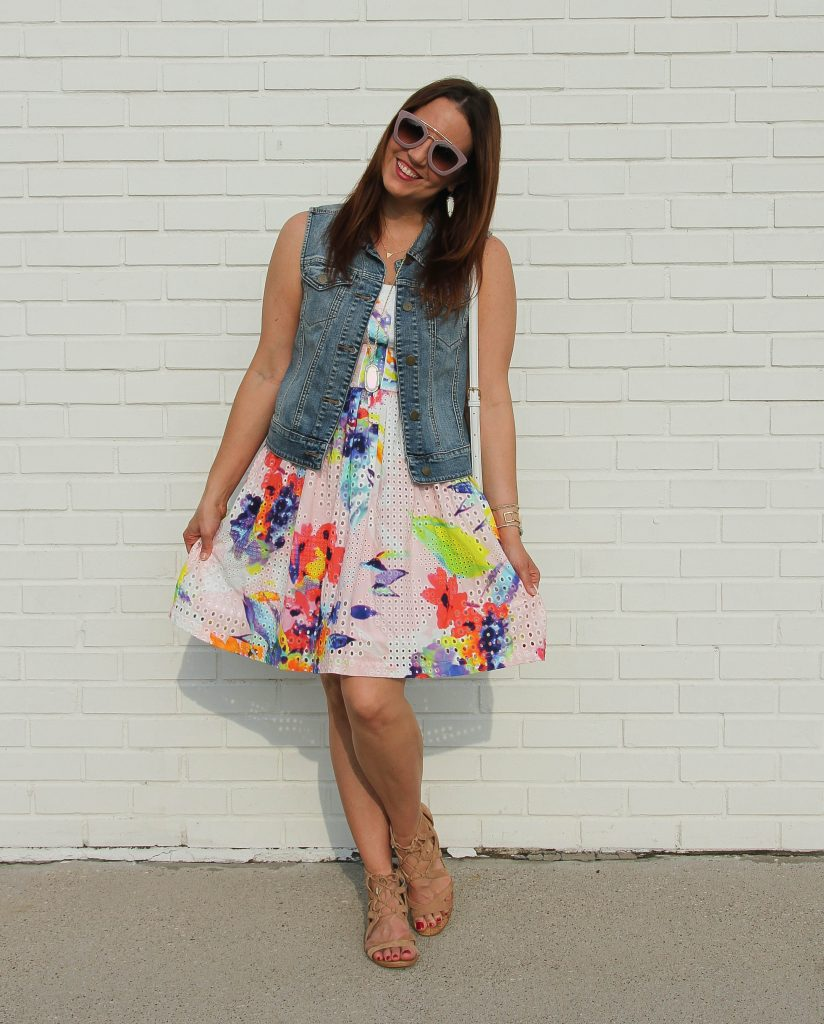 spring outfit - floral dress and denim vest