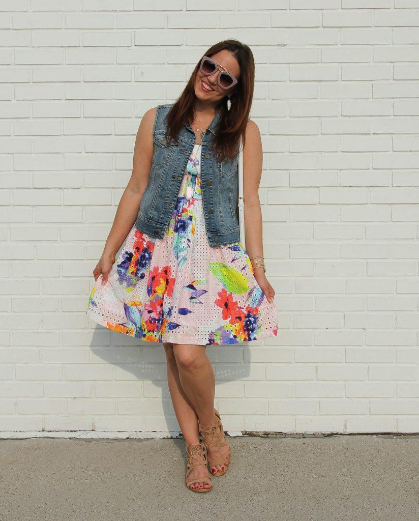 spring outfit - floral dress and denim vest