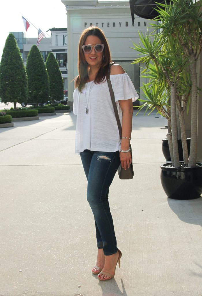 spring outfit - off the shoulder top and distressed denim with heels