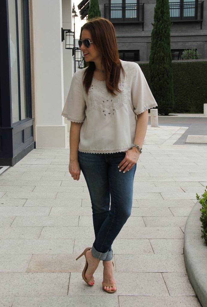 Summer outfit - linen top with distressed jeans