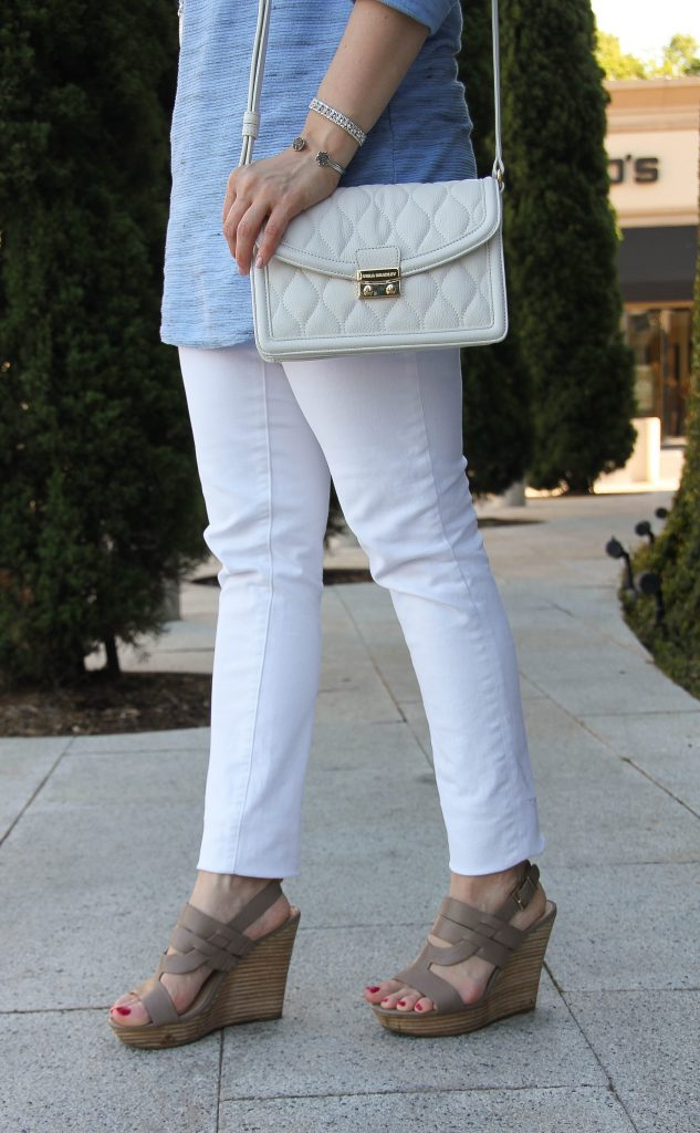 taupe wedges and paige denim in white