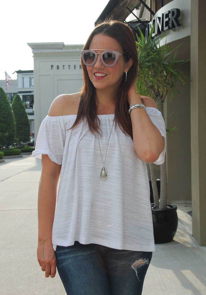anthropologie off the shoulder top with long pendant necklace in silver