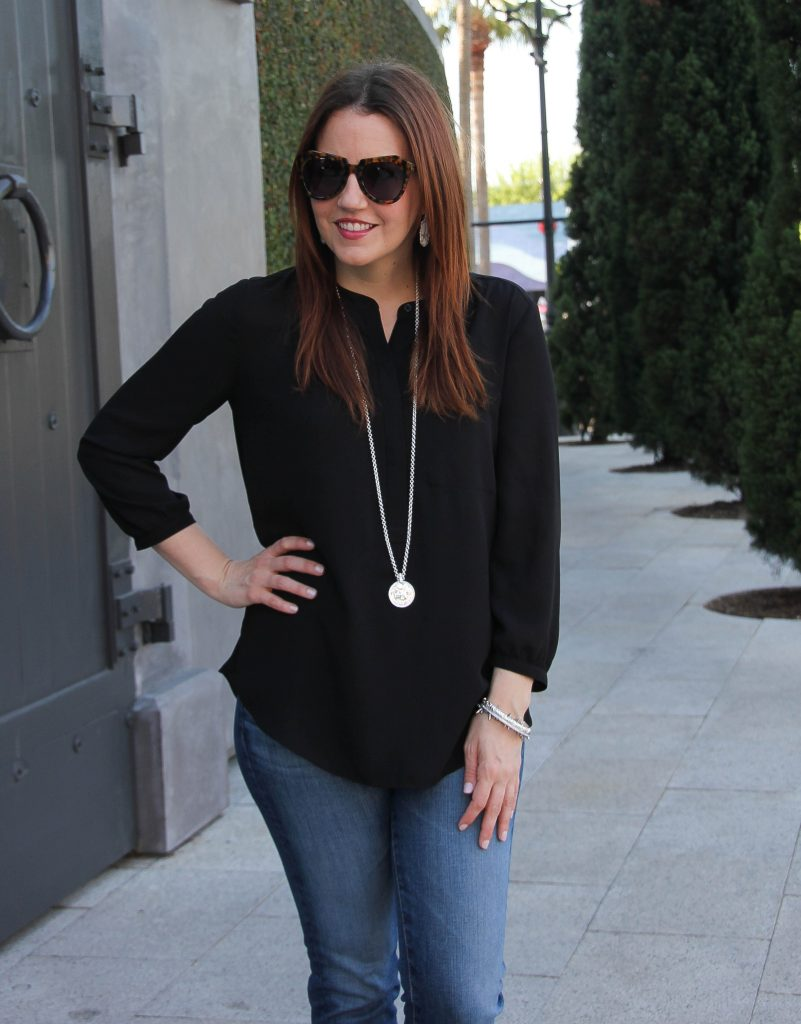 nordstrom black henley blouse with long silver necklace