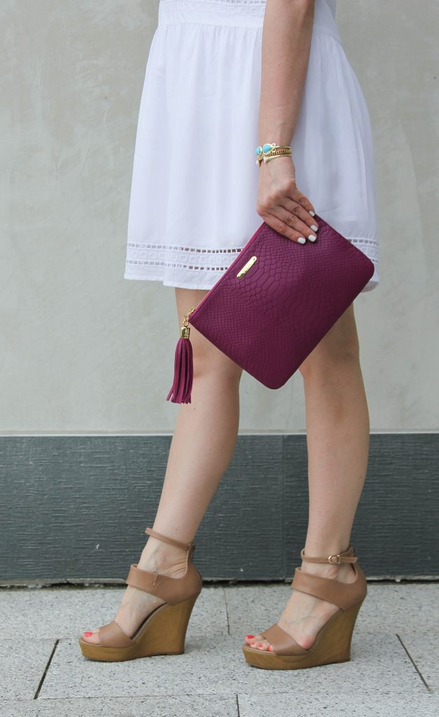 seychelles nude wedges and gigi ny magenta clutch