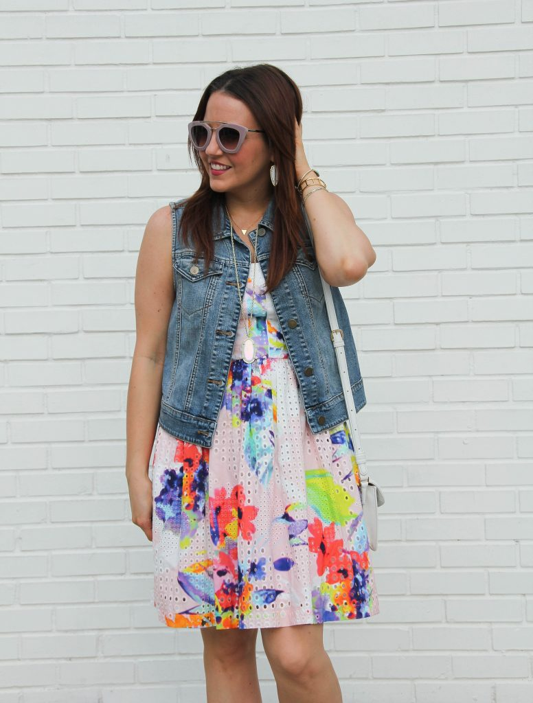 trina turk elin dress, pink floral and restyled with denim vest