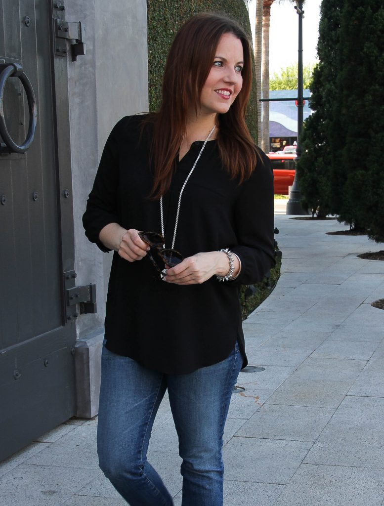 casual weekend outfit inspiration - black blouse and jeans