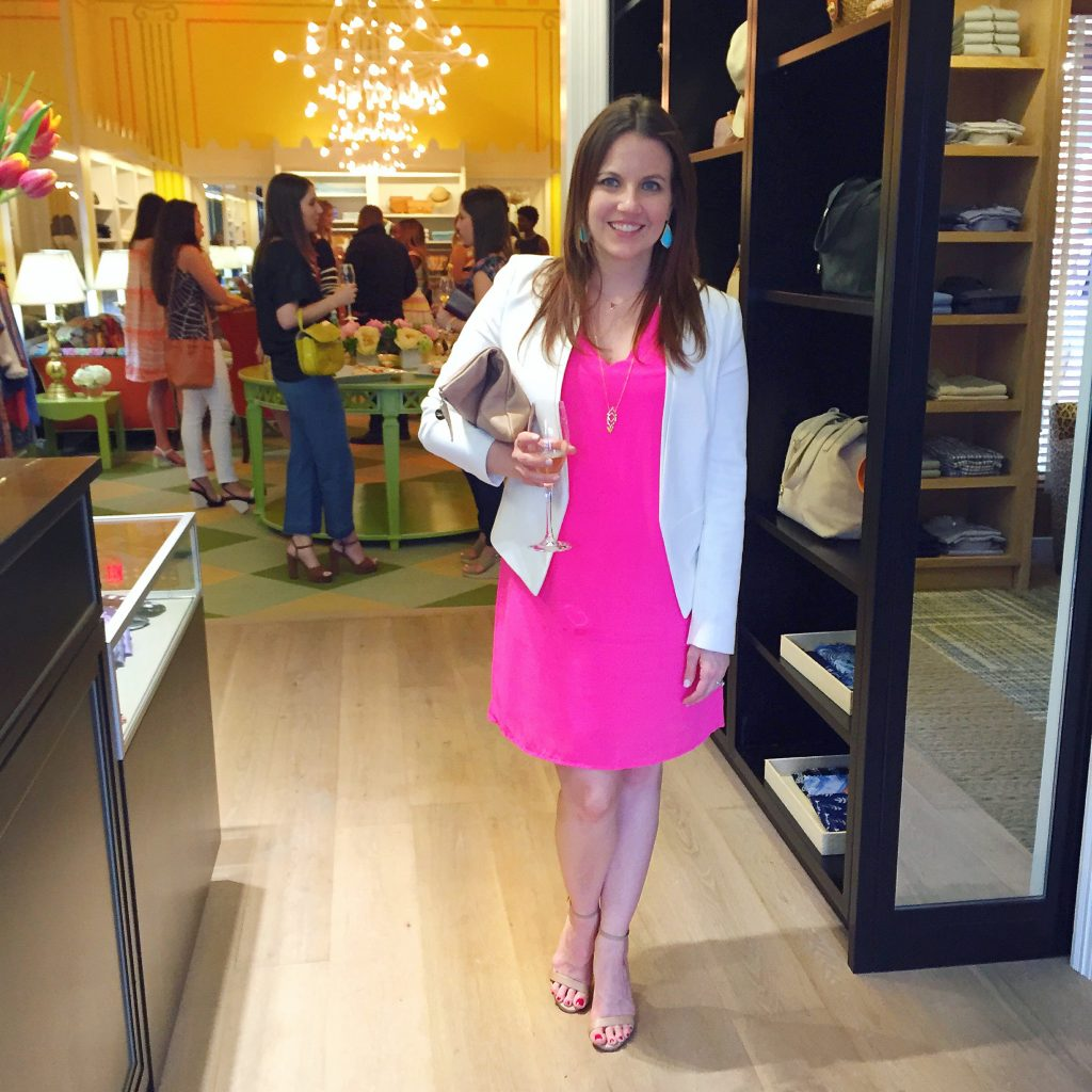 Happy Hour outfit - pink dress and white blazer