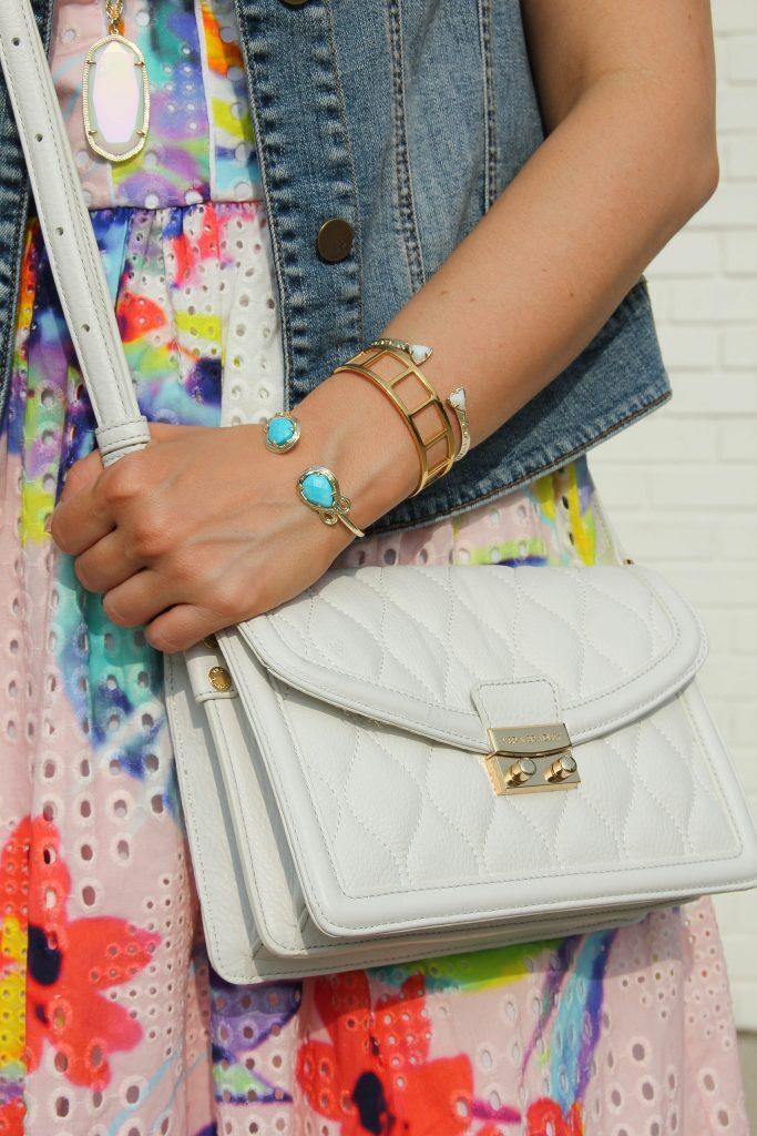 kendra scott turquoise bracelet and white crossbody bag