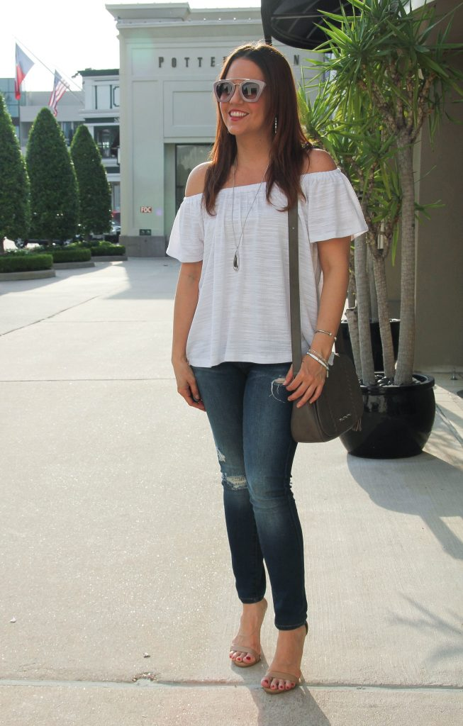 fashion blogger outfit - off the shoulder top and distressed jeans