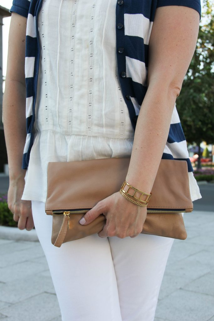 white ruffle blouse and perfect clutch for summer!