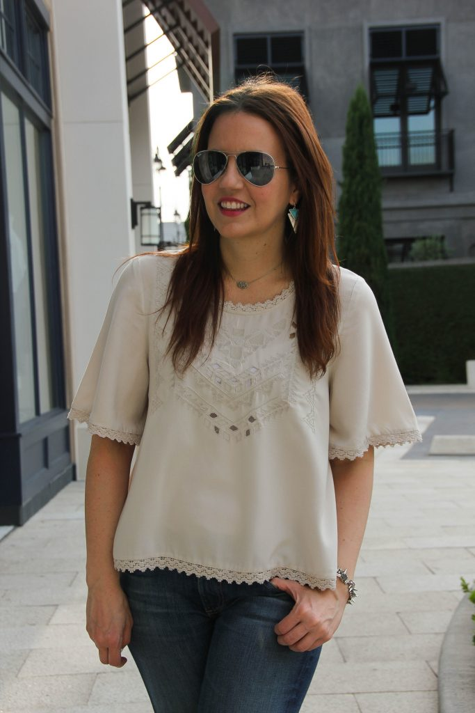 vero moda gray blouse with jenny bird turquoise earrings