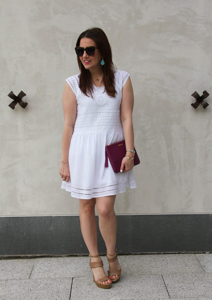 summer brunch outfit - casual white dress and wedges