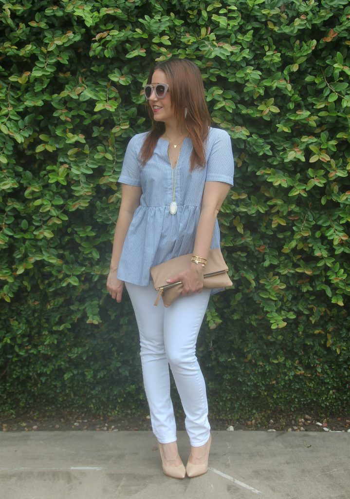 Spring Outfit idea - blue top and white jeans