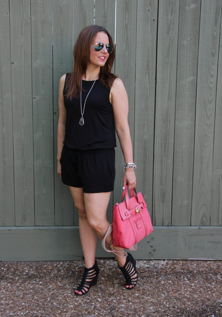 summer outfit idea - black romper and wedges