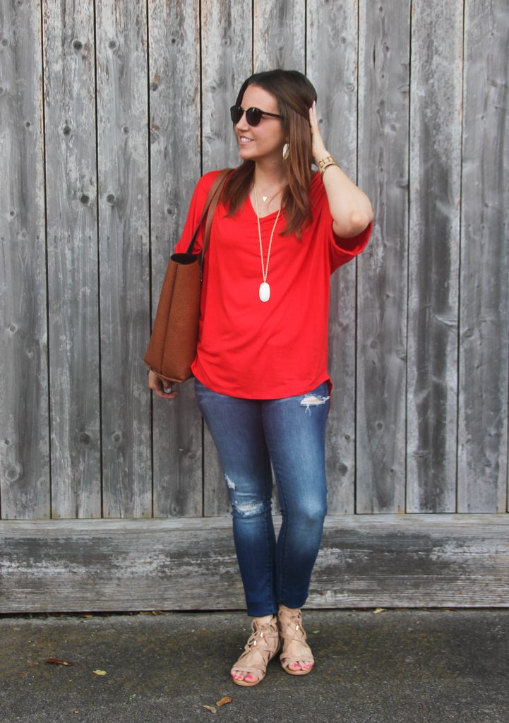 summer outfit - distressed jeans and red tee