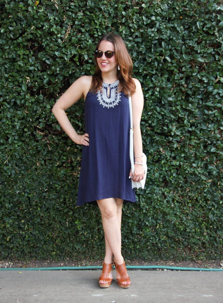 Summer Outfit Navy Dress and Wedges Sandals