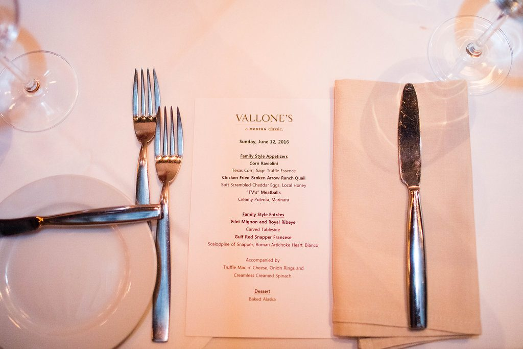 Vallone's Dinner Menu - Blogger Event