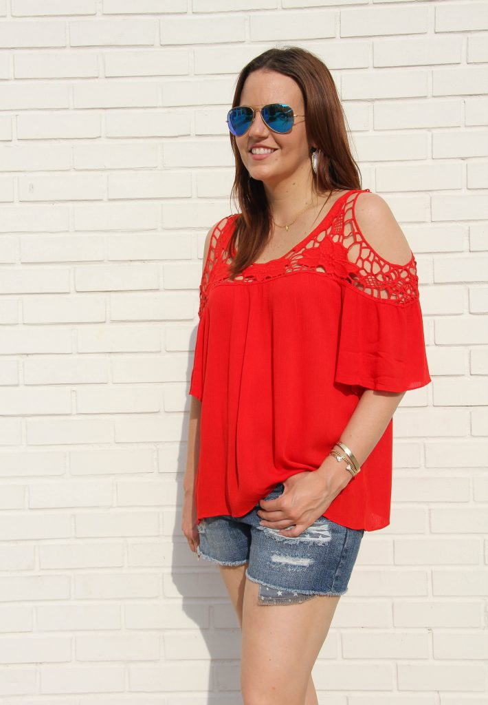 4th of July outfit -red top and cutoff shorts