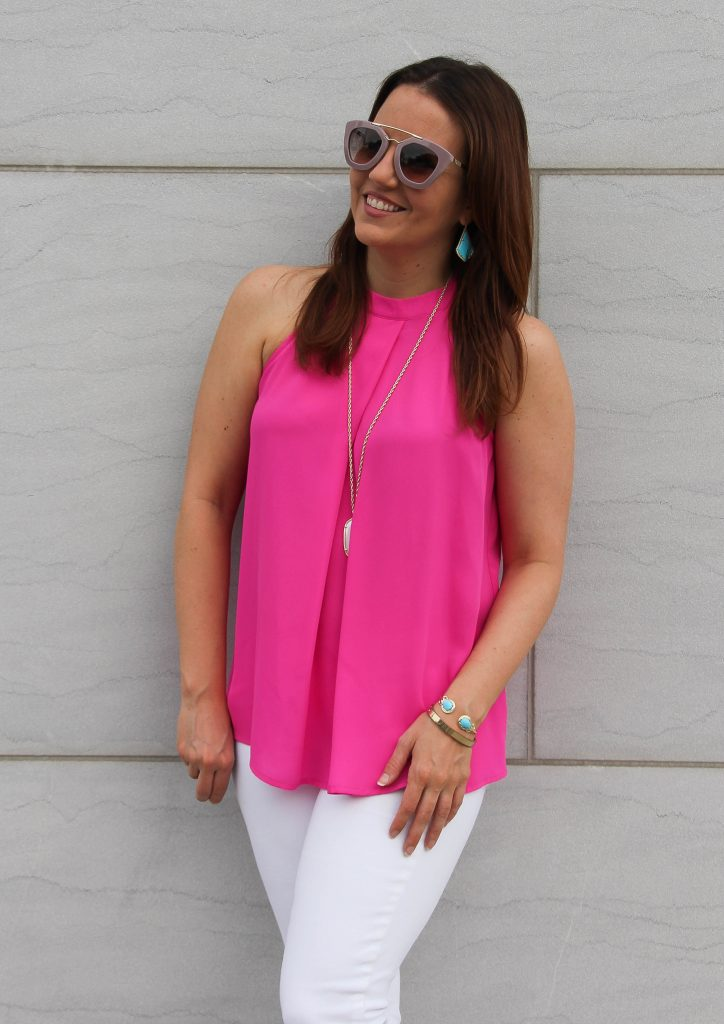 pink halter top with white jeans
