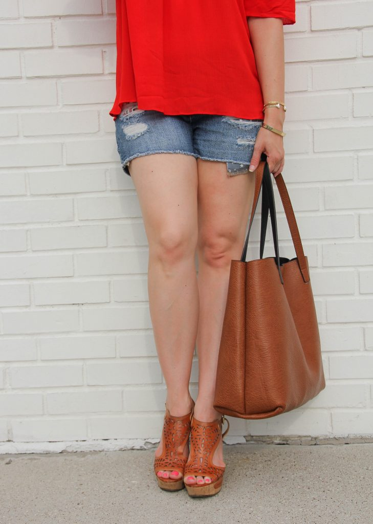 Distressed shorts with wedges, love the tote bag!