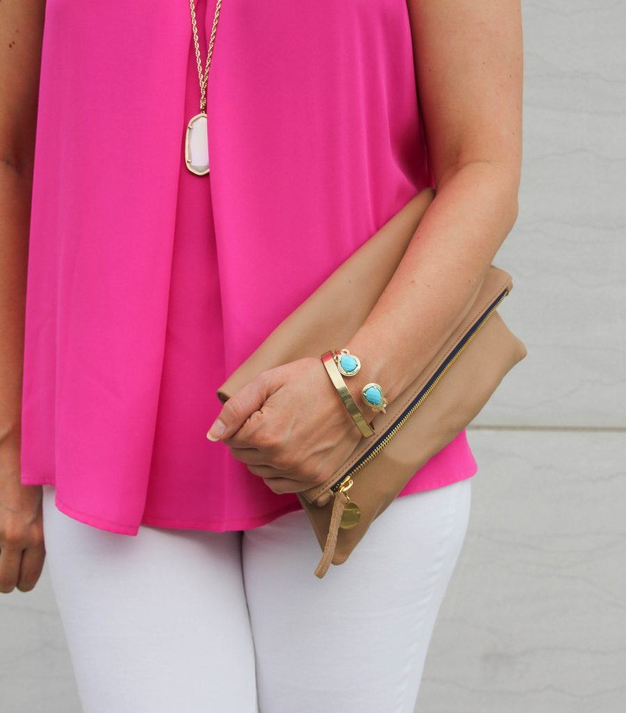 turquoise jewelry with hot pink blouse
