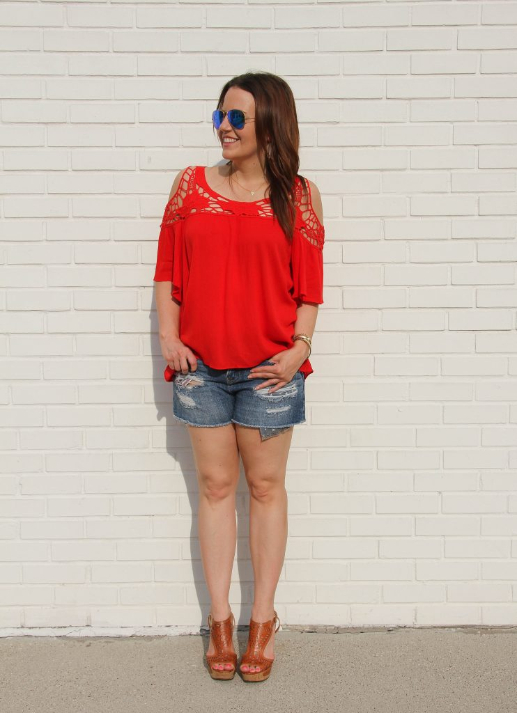 casual 4th of July Outfit - distressed shorts and red top