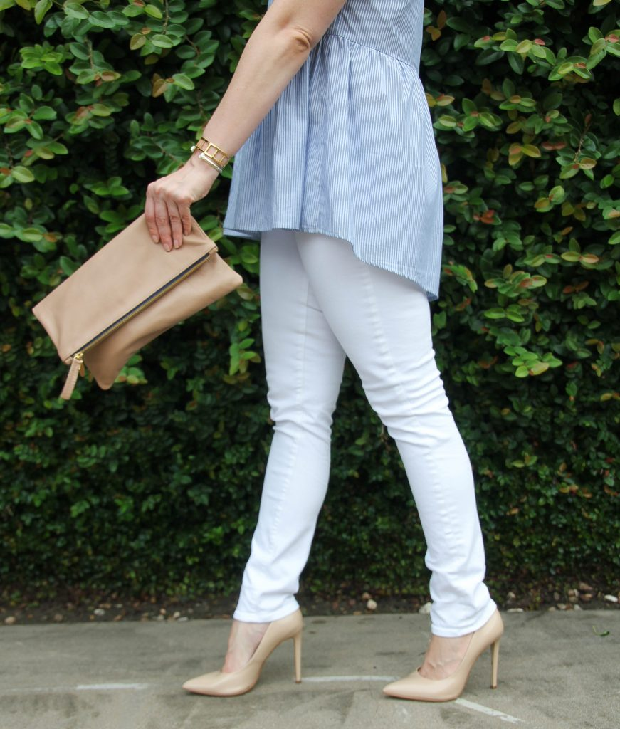 White Skinny Jeans and nude heels