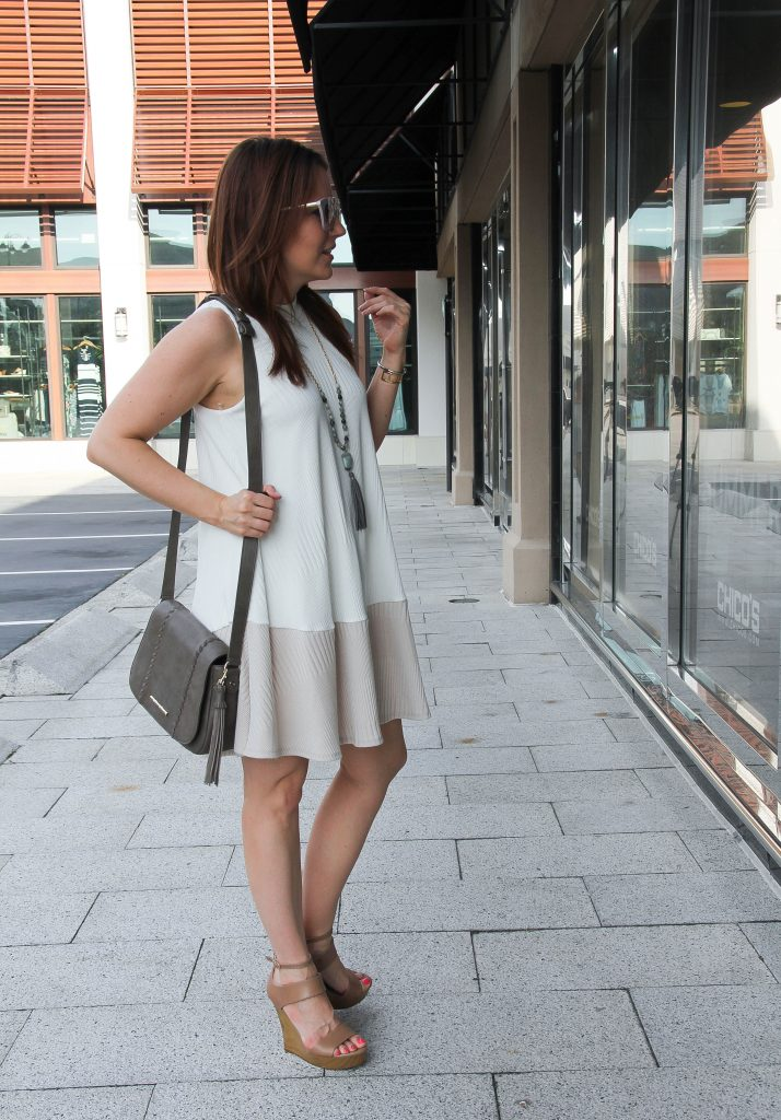summer outfit - sleeveless shift dress and wedges