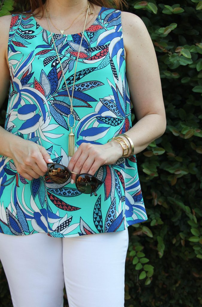 Floral Tank Top, Tortoise Sunglasses and Gold Pendant Necklace