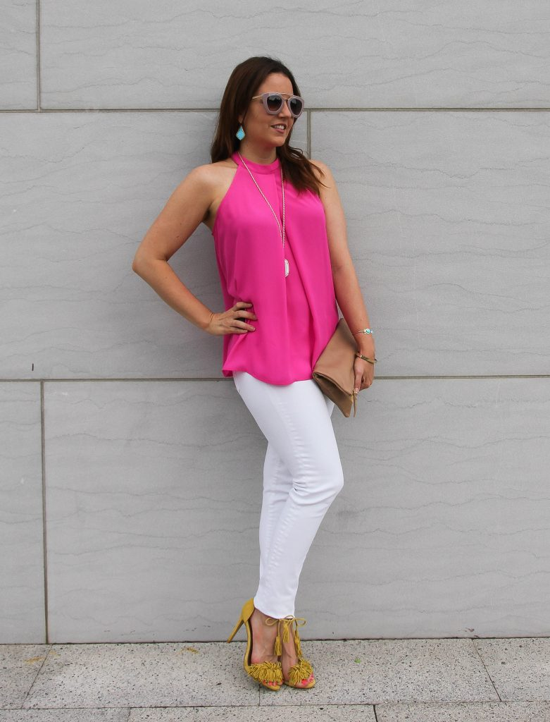fun summer party outfit - pink halter top, white jeans and yellow heels