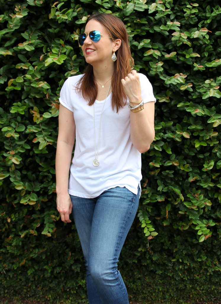 styling a plain white tee for spring or summer