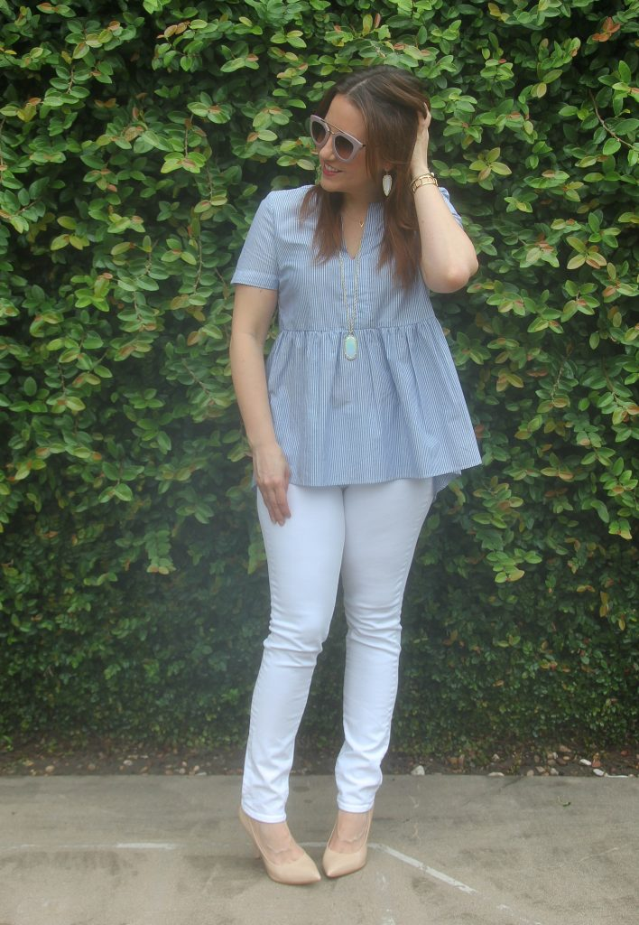 summer fashion - striped blue top with white skinny jeans