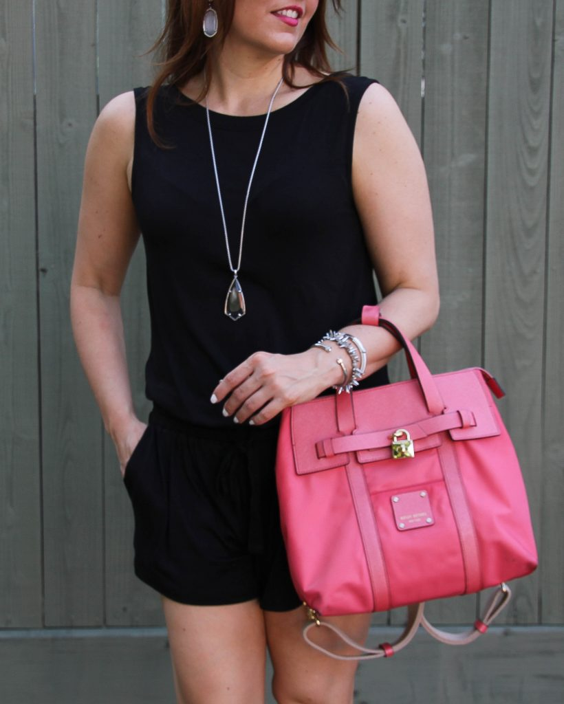Weekend Outfit - black romper and pink purse