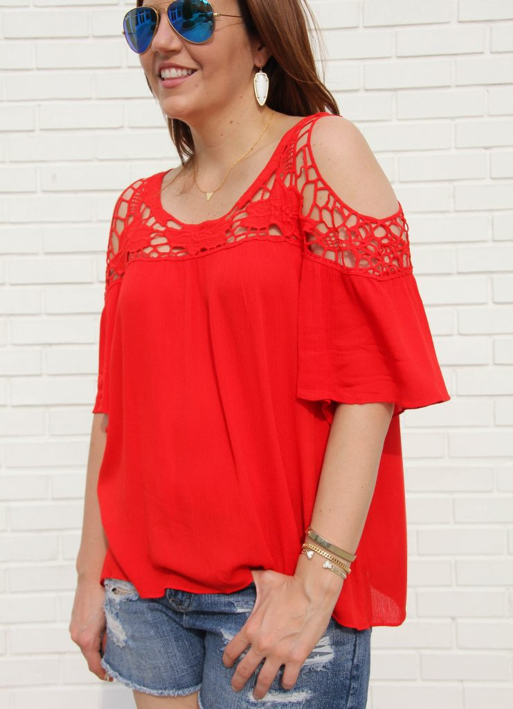 Summer outfit perfect for 4th of july with red cold shoulder top