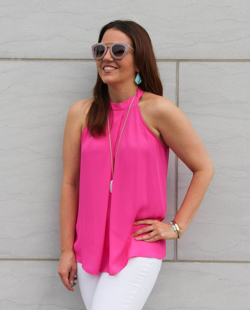 hot pink halter top and turquoise earrings