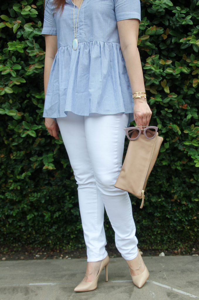 summer outfit idea - blue striped blouse, white jeans, and heels