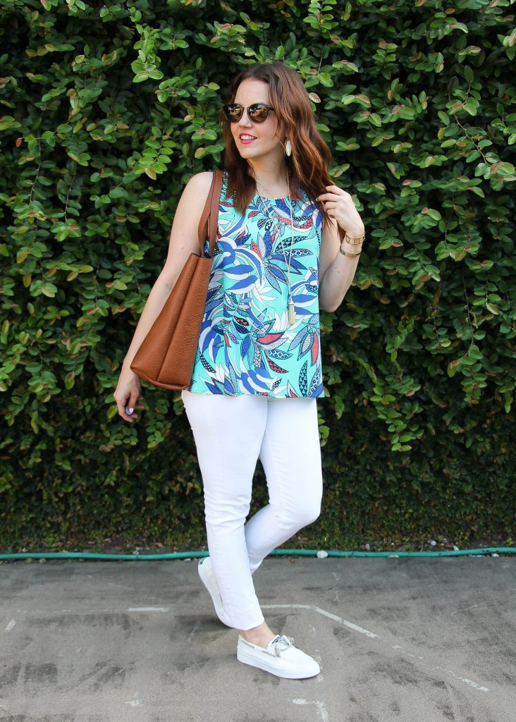 summer outfit idea - colorful tank top and white jeans