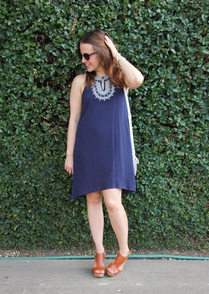 Summer outfit - navy halter dress and wedges
