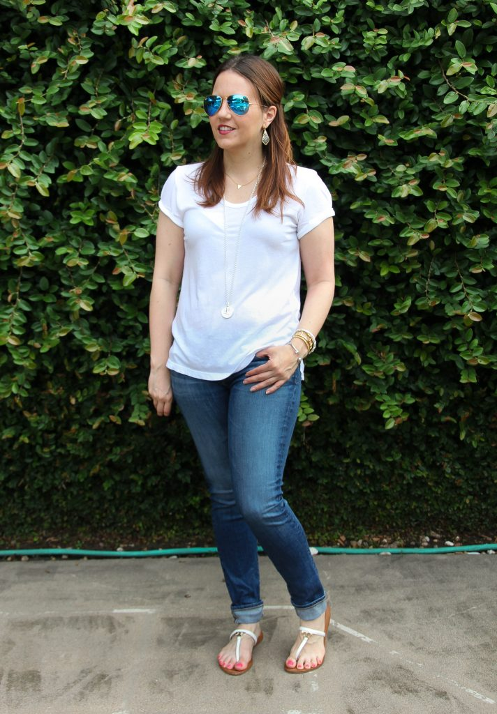 weekend outfit - white tshirt and jeans