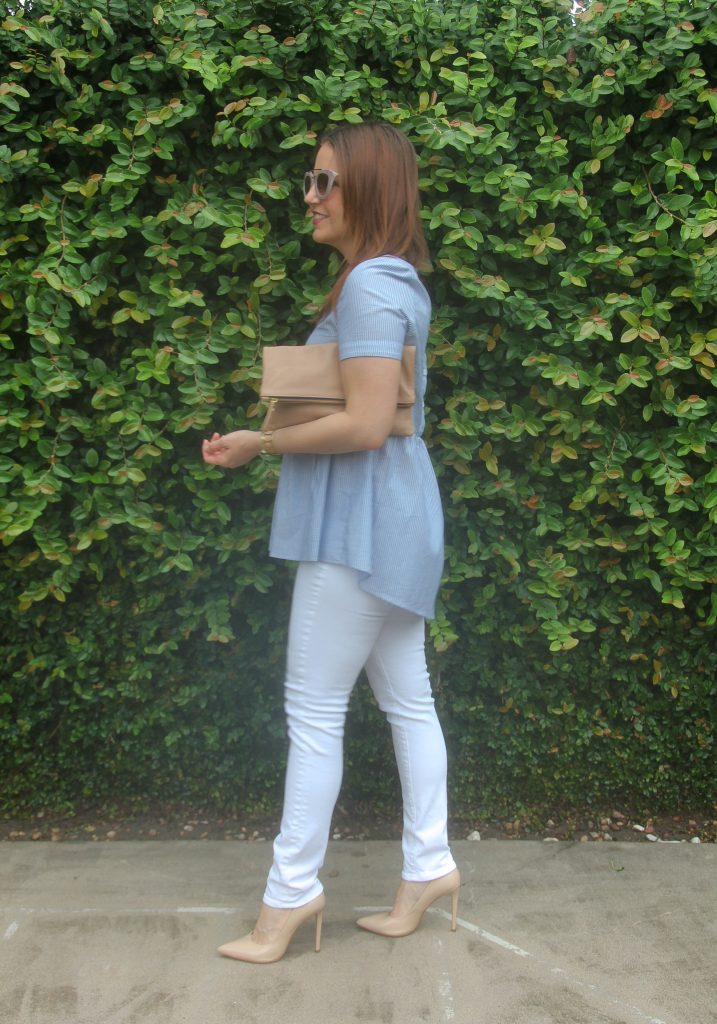 fashion blogger outfit - peplum top and white jeans