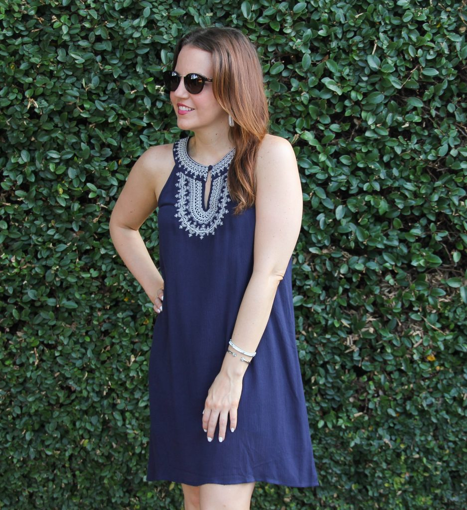 navy dress with halter neckline