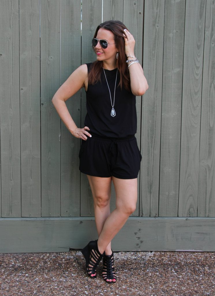 casual summer outfit - black romper and wedges