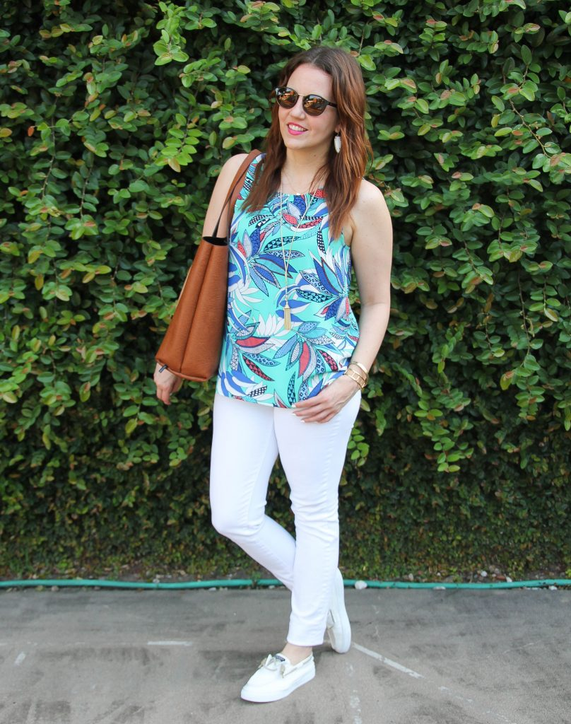 Summer Fashion Trends - floral tanks, white jeans, white sneakers