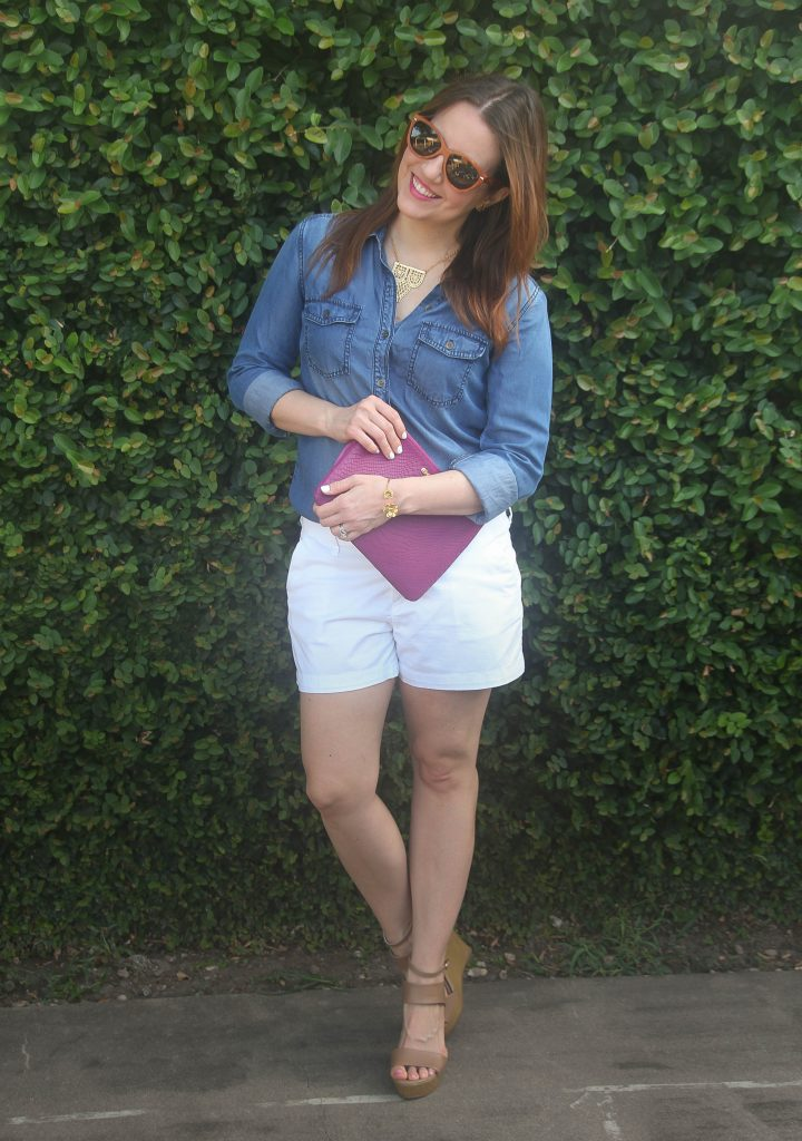 summer outfit denim shirt and white shorts wedges